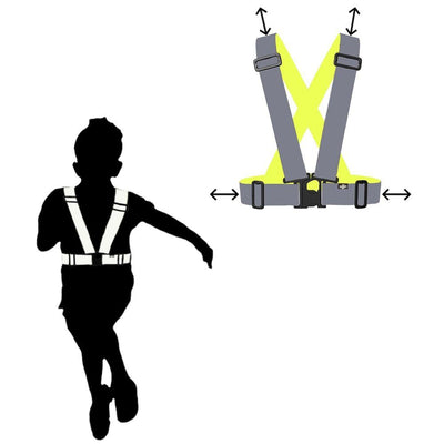 Child wearing the Totally Reflective Sash in the dark - shown glowing