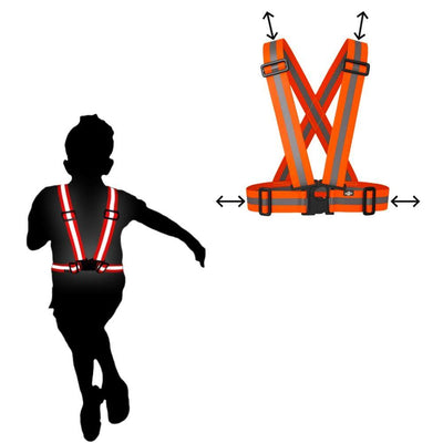 Small child seen wearing the BTR Safety Sash for high visibility safety in the orange colour