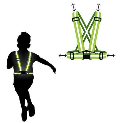 small kid wearing the neon yellow sash / vest from BTR - it is bright in the dark & the day