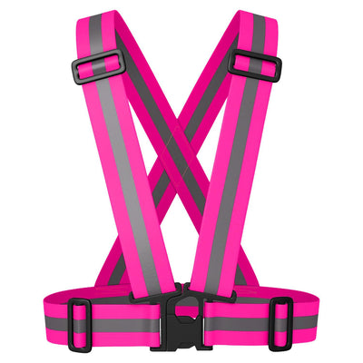 BTR Hot Pink Sash for Children - easily adjustable bright pink with silver reflective strip.