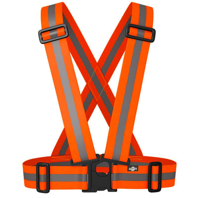 BTR Orange Sash for Children - bright orange with silver reflective strip. Elasticated & comfy