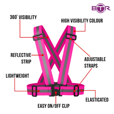 BTR Hot Pink Sash for Children - bright pink with silver reflective strip. Features include easy on / off clip