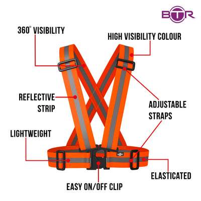 BTR Neon Orange Sash for Children - bright orange with silver reflective strip. Features include easy on / off clip