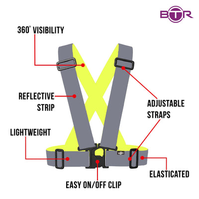 BTR Kids Hi Vis sash shown in pure silver that gives a total reflect - features include an easy on / off clip