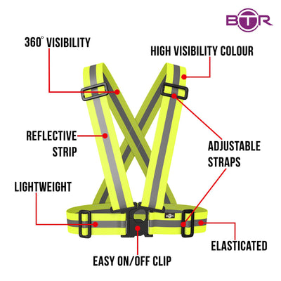 high visibility for kids, sash shown in yellow with features