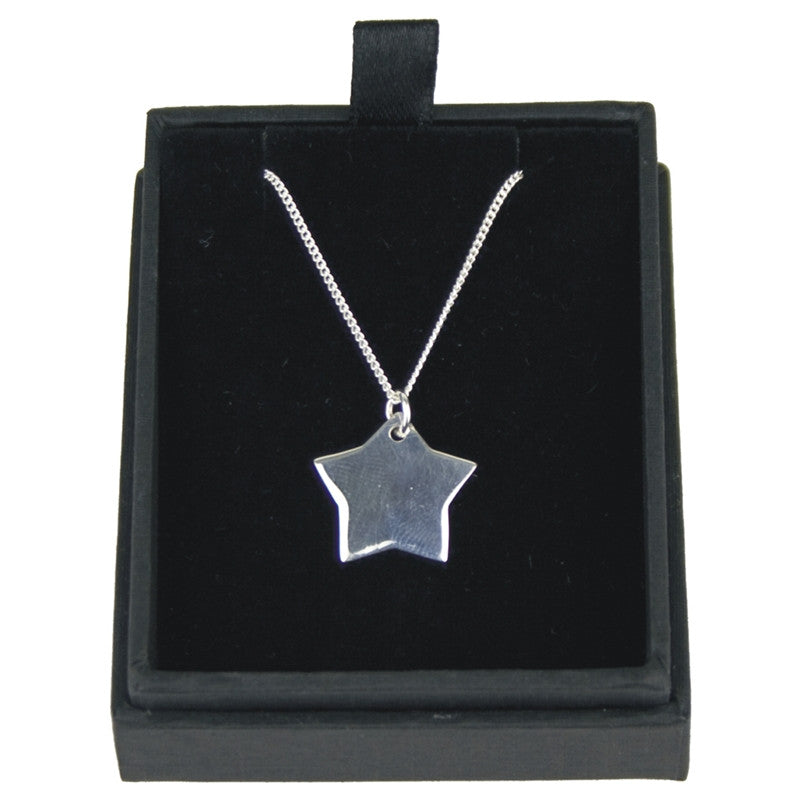 925 silver womens star pendant necklace eternity engraving 925 silver womens star pendant necklace aloadofball Image collections