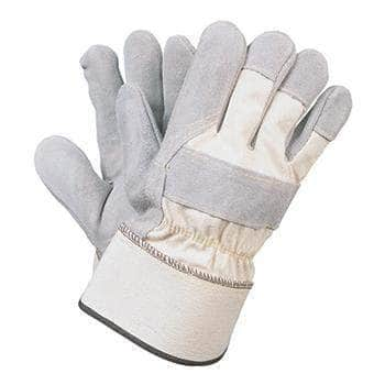 50435B Cowhide leather palm glove with knuckle protection and a safety cuff