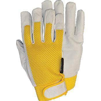 51836 Pigskin Mechanic Glove with gold mesh back and hook and loop wrist closure