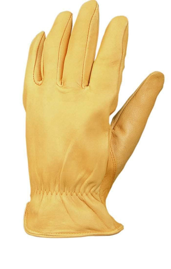 8257 Unlined gold goatskin leather driver glove