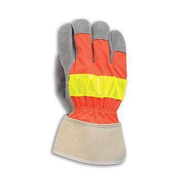 I-35REF Reflective cowhide leather palm glove with safety orange cloth back