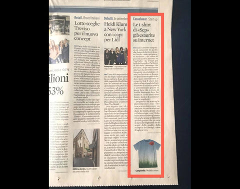 "Sep t-shirt su Il Sole 24 Ore del 10 Agosto ""017"