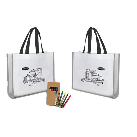 "Reflective ""Colour Me"" Tote with Crayons"
