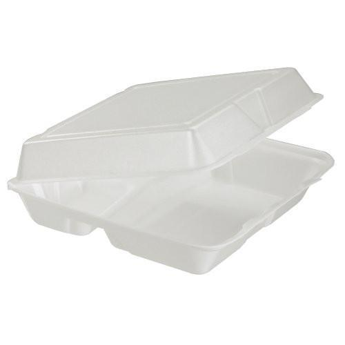 3 Compartment Foam Hinged Carry Out Container