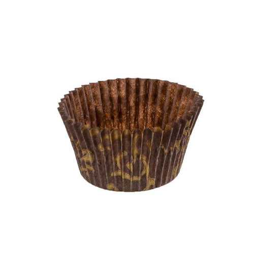 Brown With Gold Scroll Baking Cup - 2-1/4