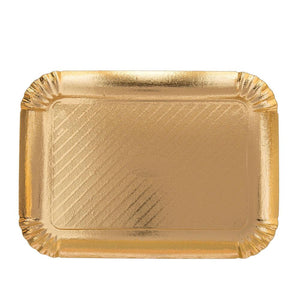 Gold Rectangular Pastry Tray - Straight Edge