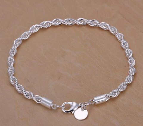 Elegant Lovely Silver Twisted Rope Design Bracelet