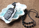 Natural Obsidian Buddha Head Pendant Necklace