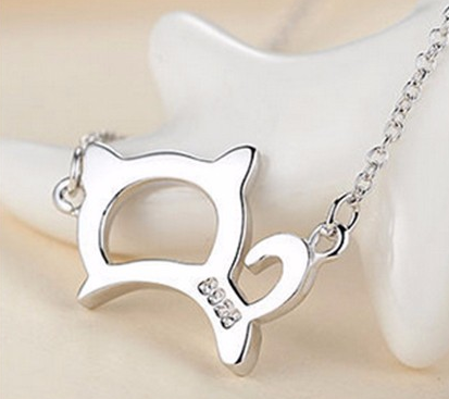 Lovely Womens Cute & Lucky Cat Pendant Necklace