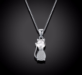 Genuine Lovely 925 Sterling Silver Cat Pendant Necklace