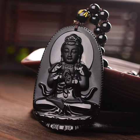 Natural Obisdian Volcanic Lava Buddha Necklace