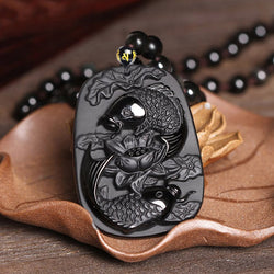 Natural Black Obsidian Fish & Lotus Necklace