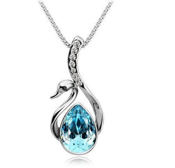 Swan Crystal / Rhinestone Pendant Necklace