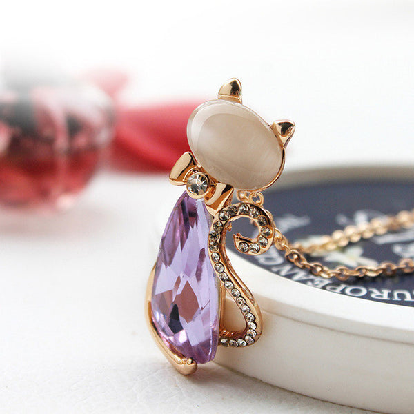Lovely Cat Necklace Pendants with Rhinestone Crystal