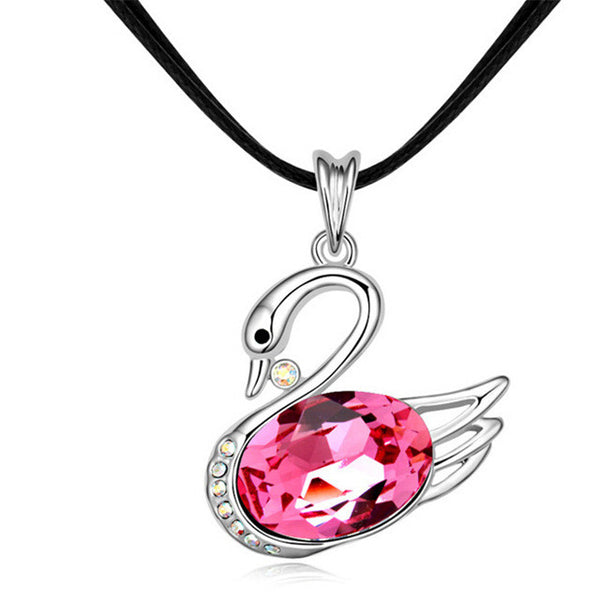 Swan Pendant Crystal from Swarovski Black Leather Necklace