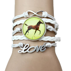 Infinity Horse Lover White Leather Bracelet