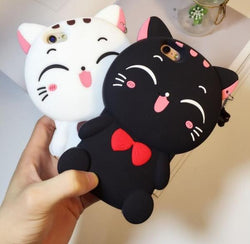 Lovely 3D Cat Phone Case with Pendant for iphone