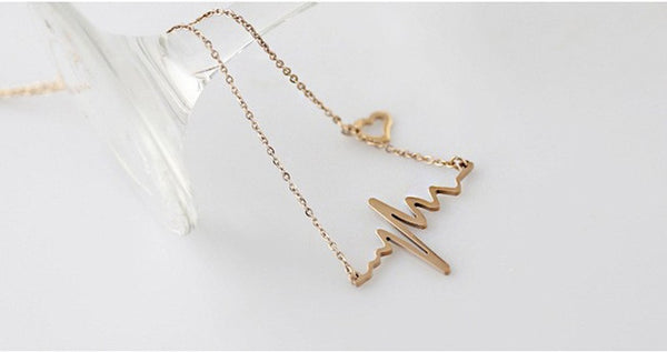 ECG Wave Heart Necklace
