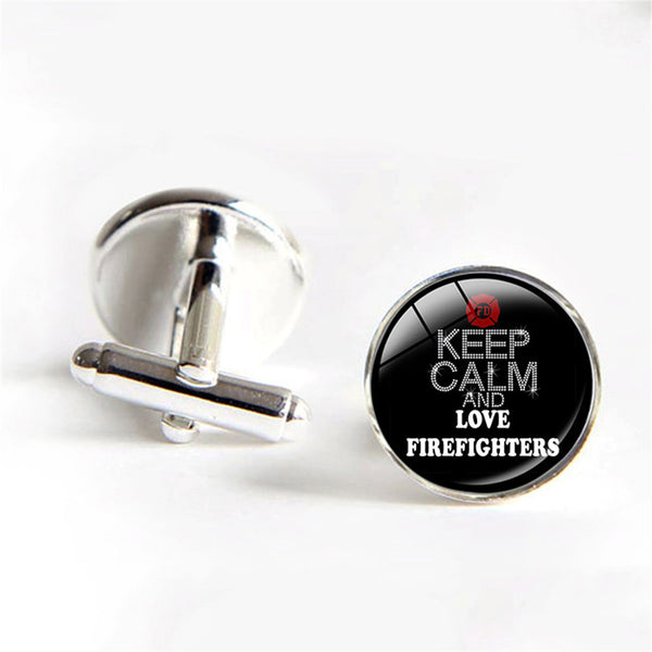 Firefigters Cufflinks - Keep Calm and Love