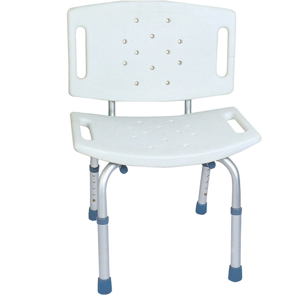 BodyMed Aluminum Shower Chair with Back, Adjustable