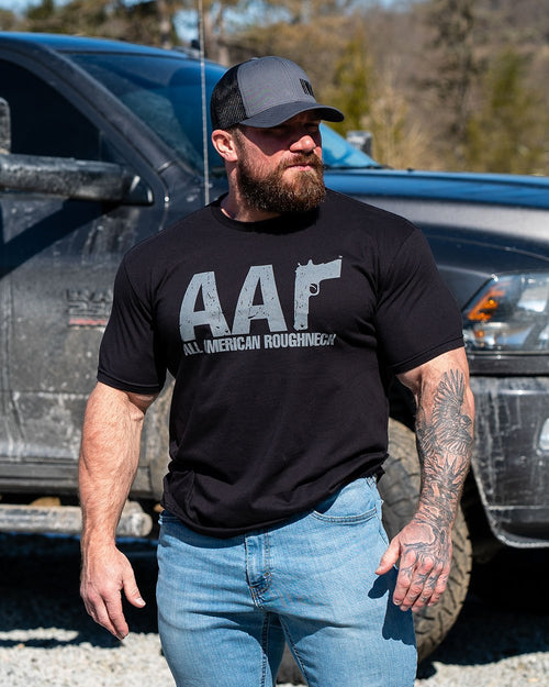 AAR GREY ON BLACK TEE