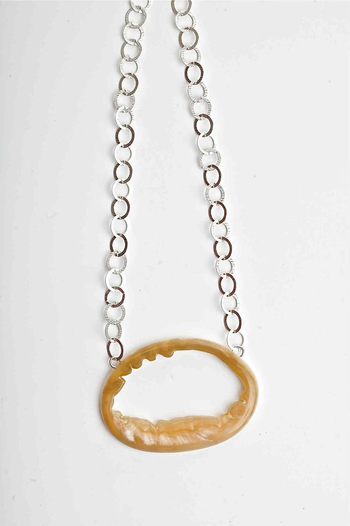 Oval Series Natural Interior Muskox Horn Necklace - Horizontal