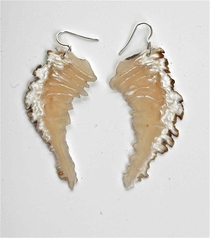 Wing Series Natural Edge Muskox Horn Earrings