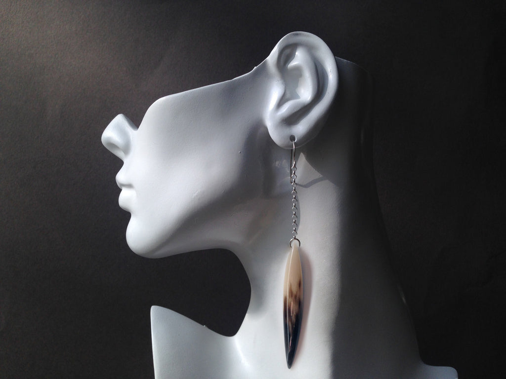Claw Series Muskox Horn Earrings with 1.5