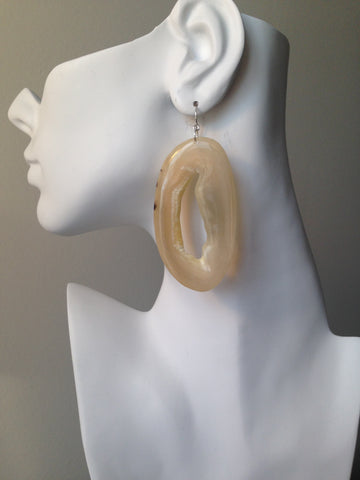 Oval Series Natural Interior Muskox Horn Earrings