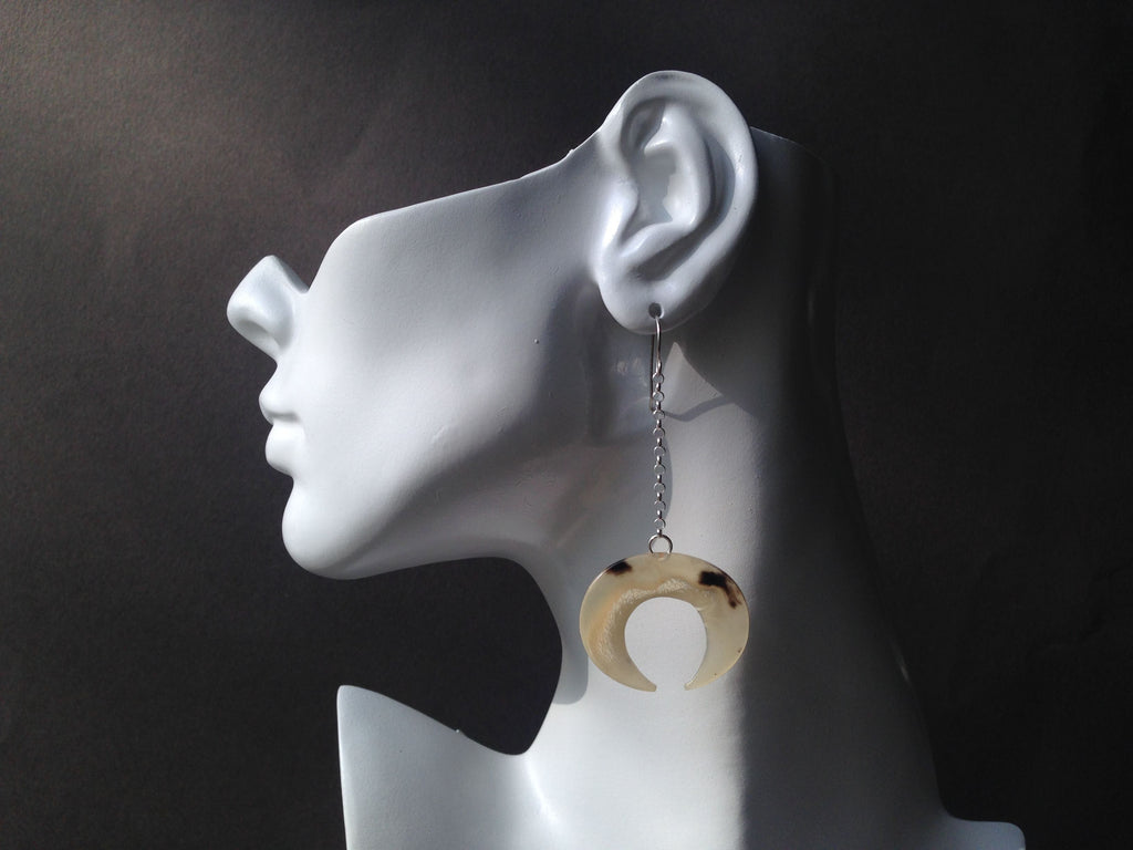 Crescent Series Muskox Horn Earrings with Drop Chain