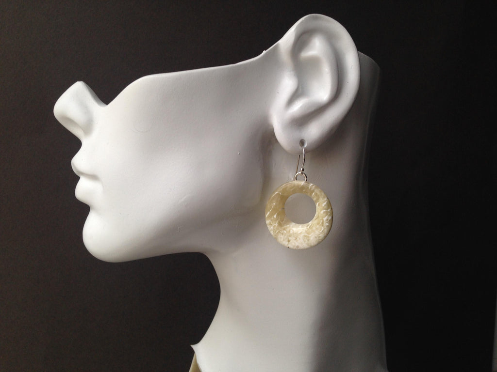 Circle Series Cutout Muskox Horn Earrings