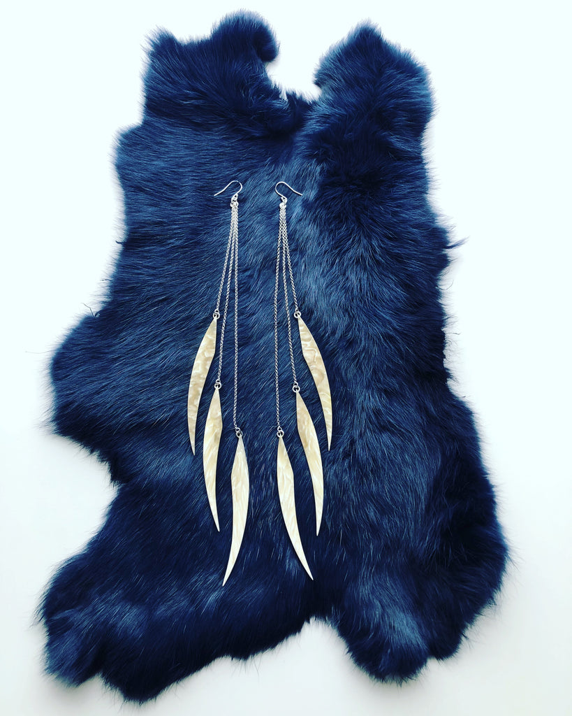Triple Black Bear Claw Earrings