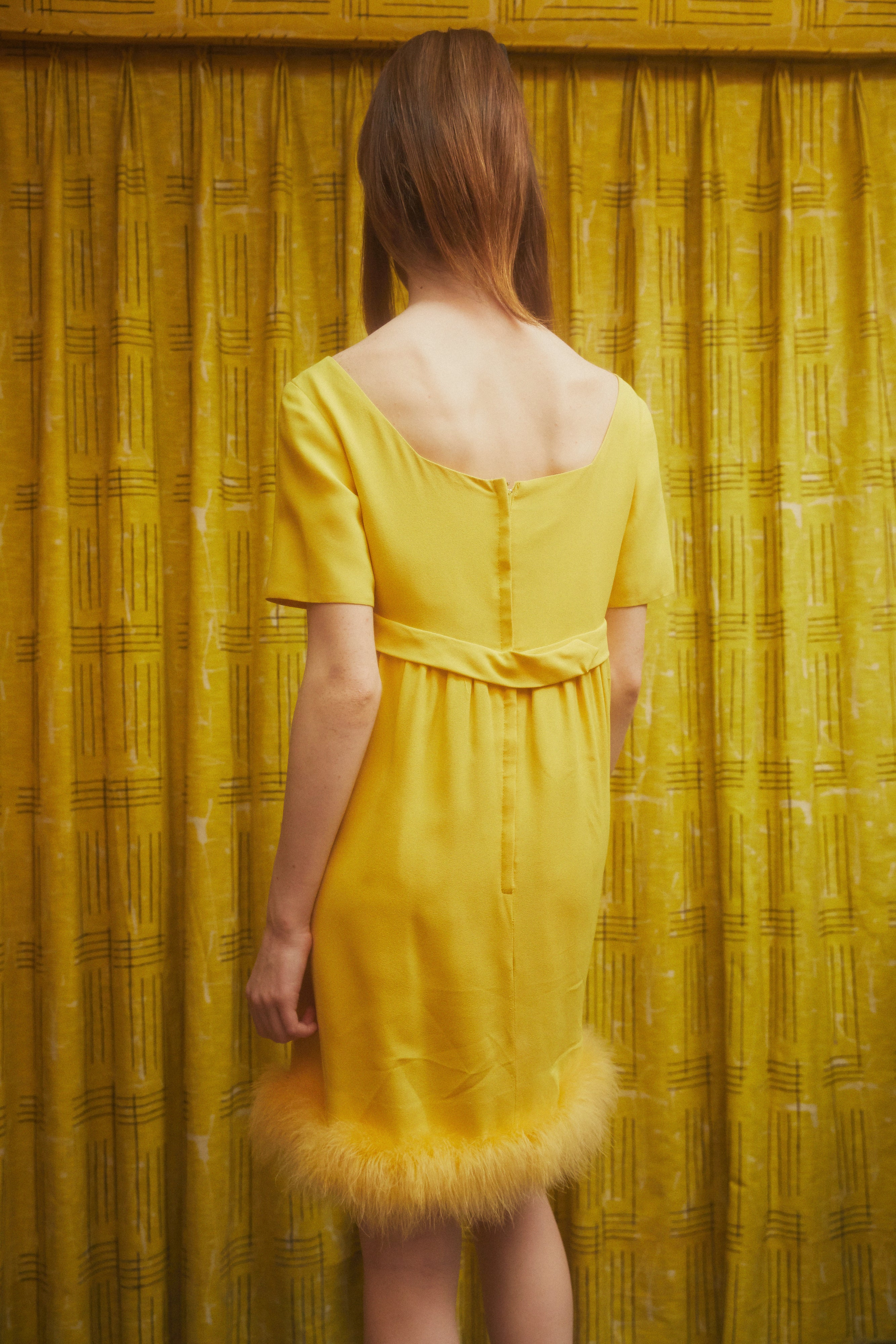 Yellow Feather Dress