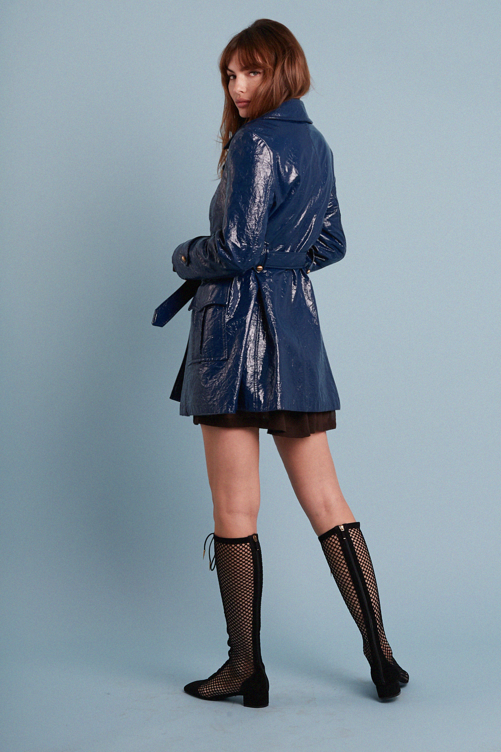 Rare 60's Navy Patent Leather Coat
