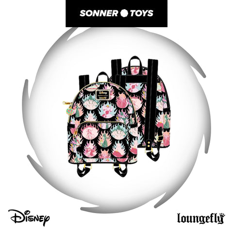 Loungefly: Disney Villains - Pastel Flames AOP Mini Backpack