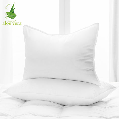 Aloe Vera Hotel Collection Gel Pillow (2 Pack) – Luxury Plush Pillows with All-Natural Pure Aloe Vera Treatment – Eco-Friendly, Hypoallergenic infused with Soothing/Moisturizing Aloe Vera