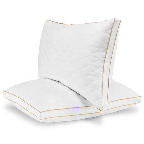 Italian Luxury Quilted Pillow (2-Pack) - Hotel Quality Plush Gel Fiber Filled Pillow with Quilted Cover and Sateen Piping - Hypoallergenic