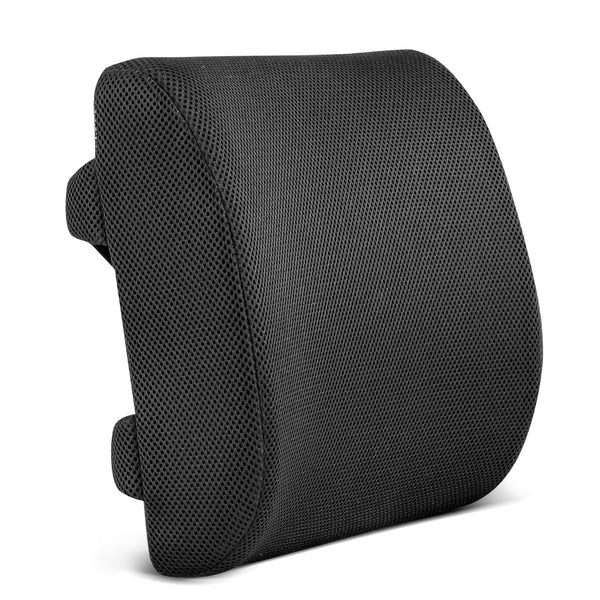 Restorology Orthopedic Memory Foam Lumbar Support Back Cushion for Office Chair & Car Seat - Designed to Reduce Back Pain & Boost Circulation with Hypoallergenic with Adjustable Straps & Mesh Cover