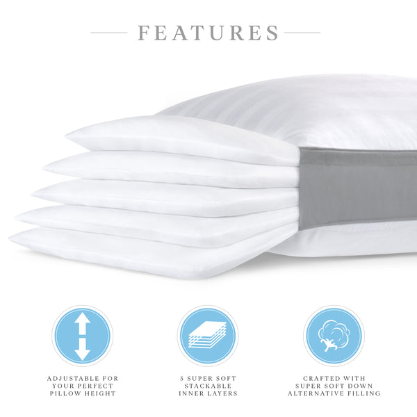 Restorology Comfort Stack Pillow - Adjustable 5 Layer Pillow - Add/Remove Layers to Customize Your Pillow Height - Ultra Plush & Hypoallergenic