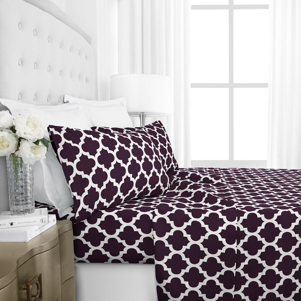 Italian Luxury 1800 Series Hotel Collection Quatrefoil Pattern Bed Sheet Set - Deep Pockets, Wrinkle and Fade Resistant, Hypoallergenic Printed Sheet and Pillow Case Set