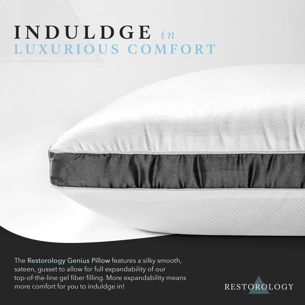Restorology Genius Pillow (2-Pack) - Hotel Quality Plush Cooling Gel Fiber Filled Pillow with Sateen Gusset - Hypoallergenic & Dust Mite Resistant